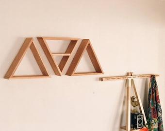 Set of 3 Triangle Shelves w/ One Middle Shelf (Reclaimed Wood)