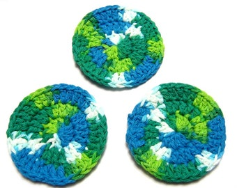 Cotton Facial Scrubbies, Crochet facial rounds, Makeup Remover Pads,  Bath & Beauty, Crochet Spa Accessories, Gift for Her, Emerald Energy
