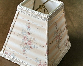 Shabby Cottage Chic Lampshade, Petite Floral Lampshade, Victorian Decor ,  Bedroom Lamp Shade,