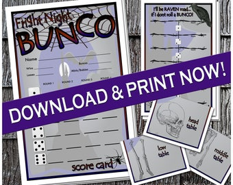 Printable Halloween Fright Night Bunco Set