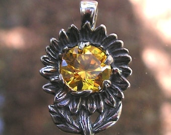 Sterling Silver Sunflower Pendant With Golden Citrine