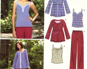 Misses Stretch Knit Top and Tank, Pull-on Pants, sizes 8,10,12,14,16,18, New Look 6763