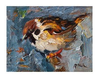Fine Art Giclee Print, Sparrow Bird on Bright Blue, Prints Original Oil Painting Art Impasto Nature Animals Paintings Birds Wall Decor Small