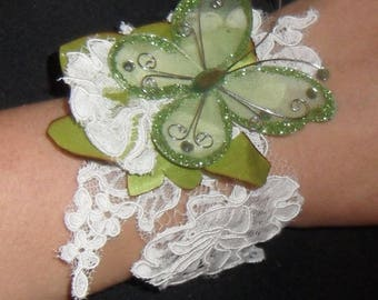 Wedding lace ivory and Butterfly bracelet