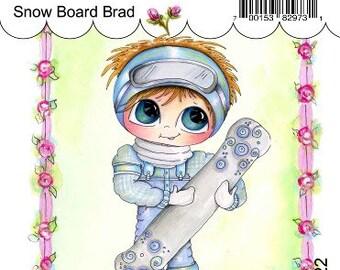 My-Besties Clear Rubber Stamp Big Eye Besties Big Head Dolls Snow Board Brad MYB-0222 By Sherri Baldy