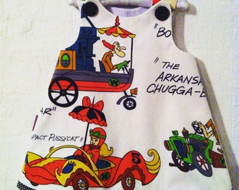 "Girl baby toddler dress ""Wacky Races"" vintage 1970's aline dress"