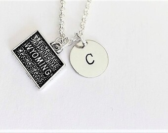 Wyoming necklace personalized initial necklace Wyoming jewelry, Wyoming map necklace friendship best friend no matter where monogram jewelry
