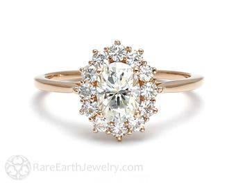 18K Cluster Moissanite Engagement Ring Oval Halo Forever One Moissanite Ring Conflict Free Diamond Alternative