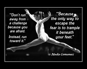 "Inspirational Gymnastics Quote Poster, Champion Photo Wall Art, Kids Wall Decor, Motivation Art Print, Leotard, Bedroom, Nadia 5x7"" - 11x14"