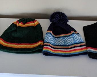 4 Vintage 100% Wool Knit Ski Hats Beanies Scotland IKS Aspen