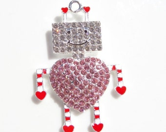 50mm*34mm Pink, Red and White Rhinestone Robot Pendant, P11
