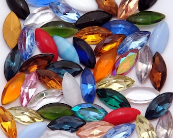 50 15x7 Assorted vintage glass navette rhinestones - various types and colors