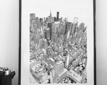New York - View from the Empire State Building - A3 Print