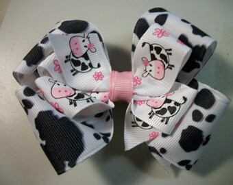 Toddler Hair Bow, Hairbow, Western Cowgirl Cow Print  Pink and Black Bow