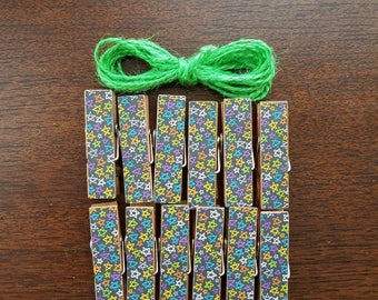 Bright Stars Night Sky Chunky Little Clothespin Clips w Twine for Display -  Set of 12 - Boy Baby Birthday