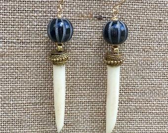 Black horn bead with white bone dangle earrings