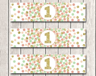 Coral Mint Peach Gold Water Bottle Labels First Birthday Party Decorations Printable Girl 1st Birthday Party Supplies INSTANT DOWNLOAD