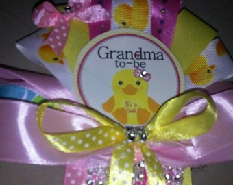 1 Mommy 2 Grandma and Daddy Baby shower corsage Pink It's A Girl Duck set