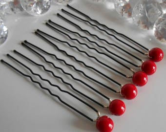 Set of 6 wedding hair pins red passion pearls