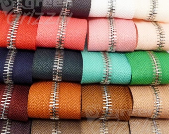 1m Continuous metal chain zip zipping upholstery No.5 range of colours AQY+AQX