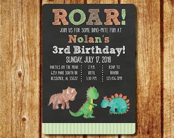 Dinosaur Birthday Invitation; Watercolor Dinosaur Birthday Invitation; Printable File