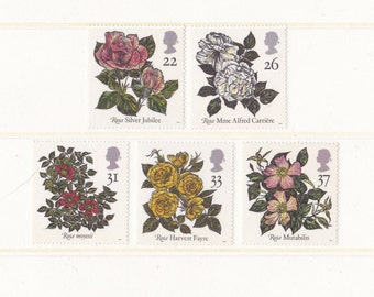 1991 Roses Mint Unused or Used Postage Stamps; flowers, gift for Valentines Day, floral, plants, wedding, snailmail, red, pink, Rosa, penpal