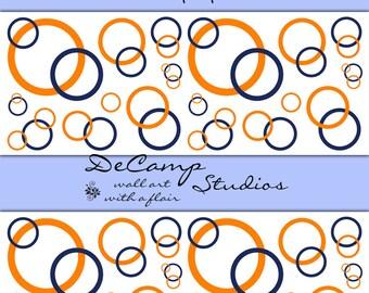 quick view navy blue coral orange circle wallpaper border
