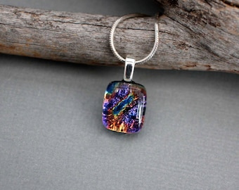Dainty Necklace Silver - Unique Pendant Necklace - Gift Ideas For Teen Girls -  Dichroic Glass Necklace Pendant - Unique Necklace For Girls