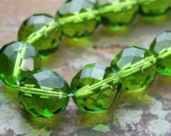 8mm Czech Beads Faceted  in Olivine Green -16 inch strand