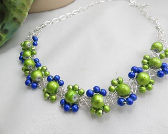 crochet wire necklace  Neon green and cobalt blue multi strand crochet statement necklace