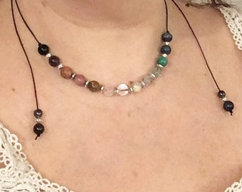 personalized necklace made of natural stones