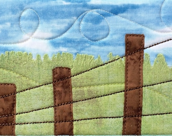 Farm Art - Fiber Art - Country Landscape - Small Quilt Art - Fabric Postcard - Dad Gift - Gift for Him - Modern Rustic Art - Serene Art