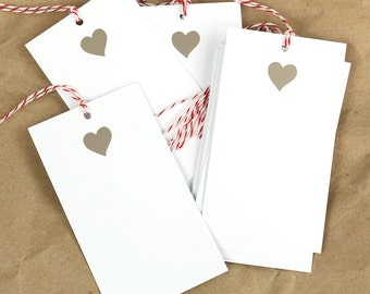 Foil Heart Tags - Silver
