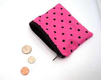 Pink Polka Dot Coin Purse