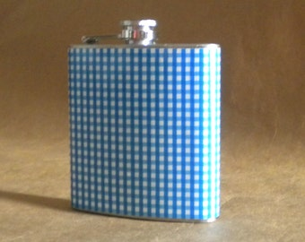 Wedding Party Gift SALE Cadet Blue and White Gingham Print 6 ounce Stainless Steel Gift Flask KR2D 6853