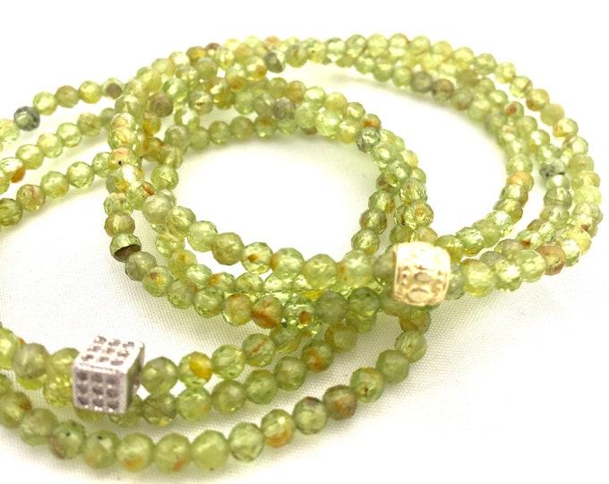 Natural Green Peridot Triple Wrap Bracelet - Green Gemstone Bracelet- 4mm Faceted Natural Peridot- August Birthstone- Mothers Day Gift