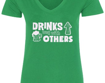 Drinks Well With Others Women's V-Neck Fitted T-Shirt Irish St. Patrick's Day - TA_00116
