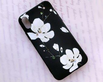 iPhone X - Boîtier souple Magnolia TPU étui souple, boîtier souple opaque, Cristaux de Swarovski, Fleurs