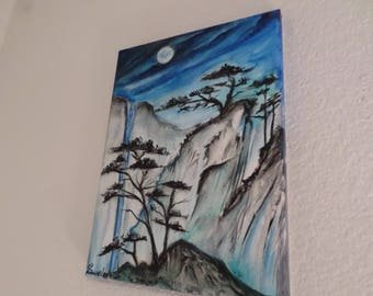 Japanese Moonlight Cliff and Mystical Trees, Watercolor Painting on canvas 9x12 inches.