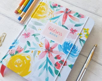 Address book, in my 'Fresh Blooms' floral watercolour design, indexed pages for all your contacts.