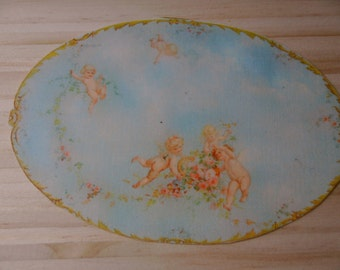 Dollhouse Miniature Romantic Shabby Chic Cherubs Rug, Treasury List, Scale One Inch