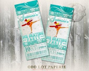 Ice Skating Invitation, Birthday Party Invitation, Ticket Invitation, Skating Party, Printable Invitation, Winter Wonderland, DIY Invite