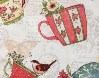 Vintage Look Teacups & BIrds (4) Cloth Dinner Napkins