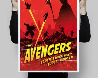 Alternative movie poster art digital print the avengers retro comic art fan art wall art home decor kids room superhero nerd geek poster