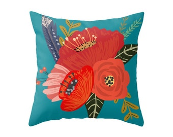 Blue, Pink or Black - Red Bright Floral Bouquet Accent Pillow Cover - Throw Pillows - Decorative Pillows