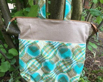 Bag tote bag African turquoise and gold