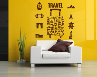 Wall Vinyl Sticker Decals Mural Room Design Pattern Travel Case Countries Cities bo574