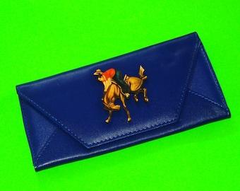 Giddy Up Cowboy Bucking Bronco Horse Bold Blue Rockabella Accordion Wallet Clutch Purse