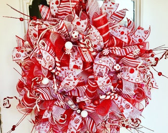 Christmas Candy Cane Deco Mesh Peppermint Holiday Front door Wreath, Candy Cane Wreath, Peppermint Wreath, Holiday Wreath, Christmas Wreath