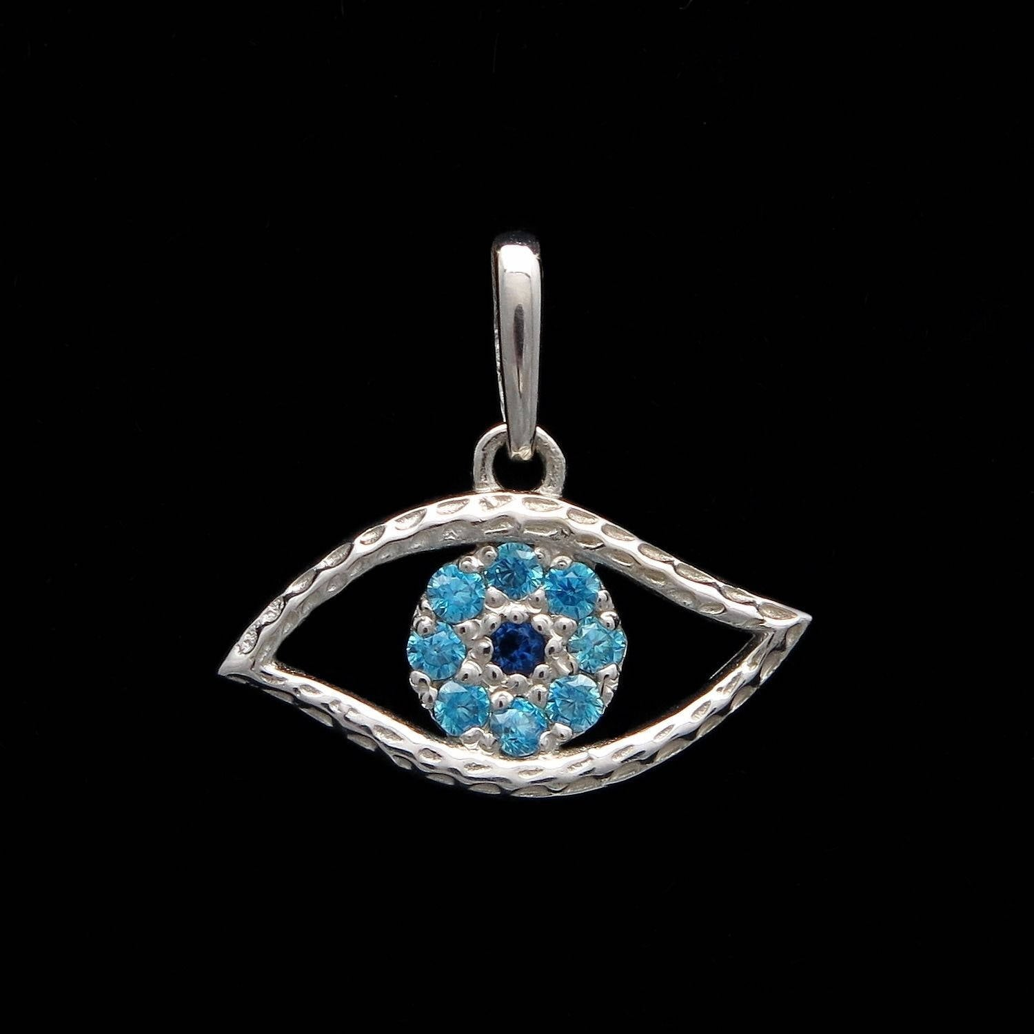 Evil eye pendant 14k white gold charm created aquamarine blue evil eye pendant 14k white gold charm created aquamarine blue sapphire charm aloadofball Image collections